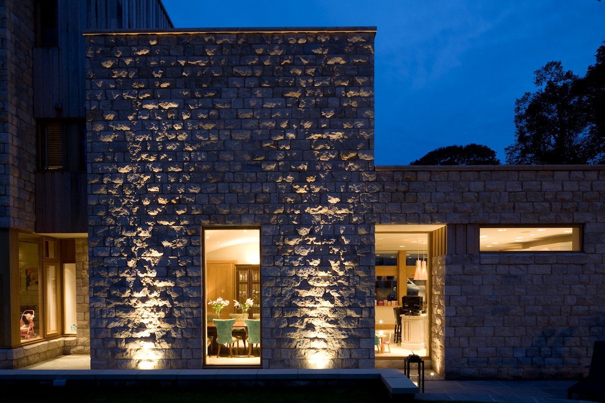 Lighting the exterior stonework - Yorkshire House